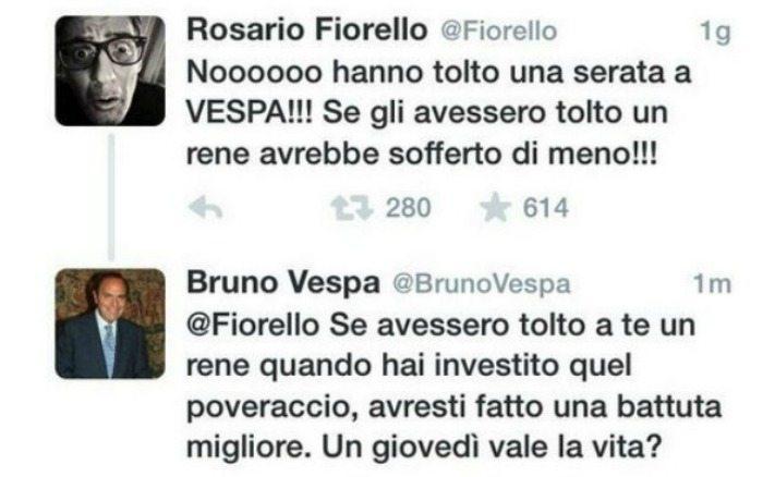 La lite tra Bruno Vespa e Fiorello