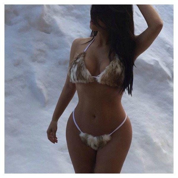Kim Kardashian in furkini | Facebook