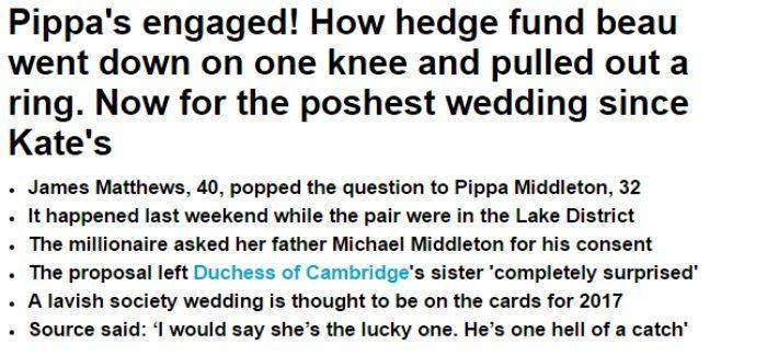 © Daily Mail - La notizia del fidanzamento ufficiale